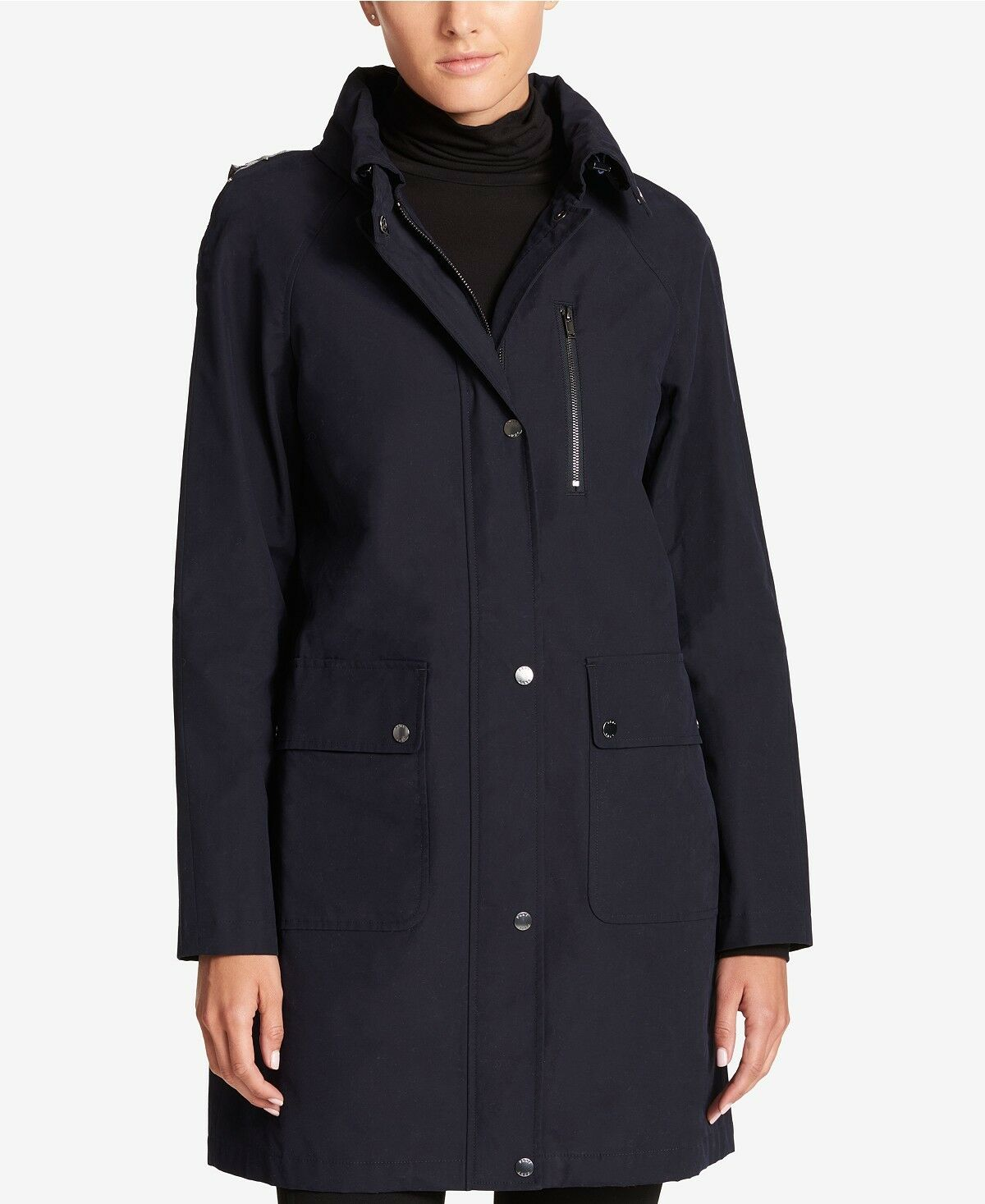 DKNY Hooded Water-Resistant Cotton-Blend Raincoat Navy XS