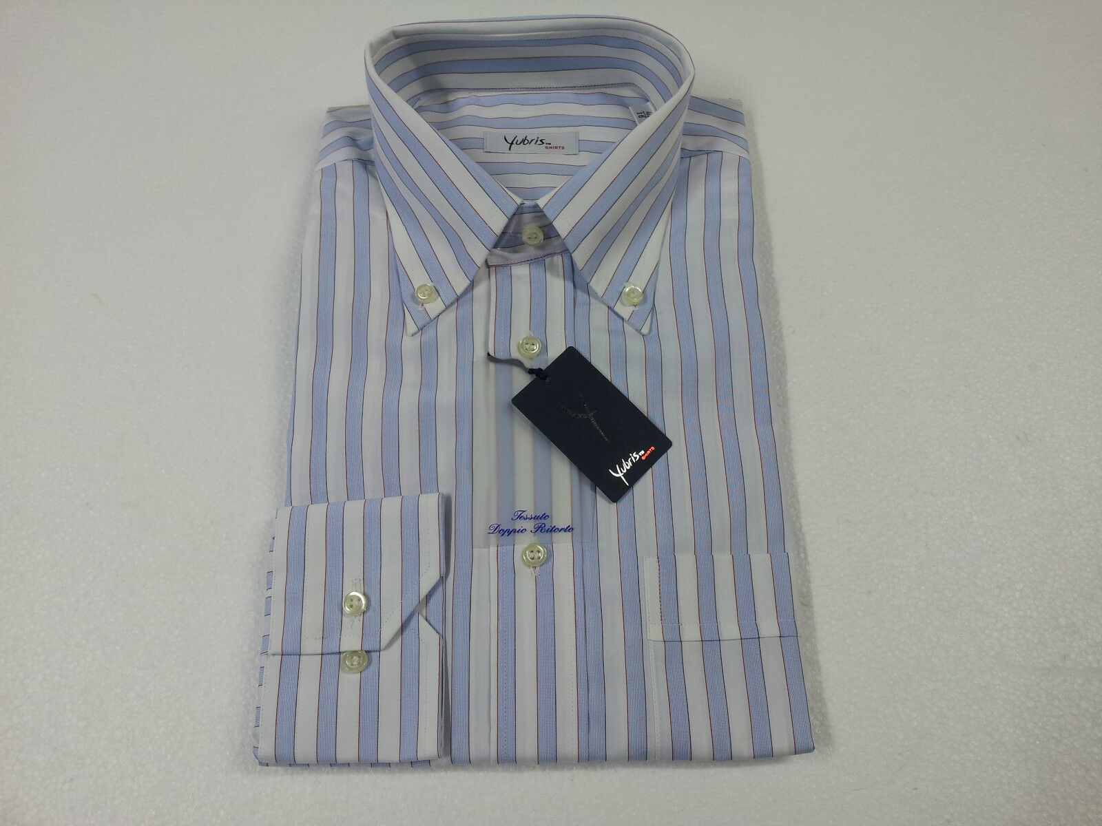 YUBRIS men's shirts striped 100% cotton double twisted regular fit