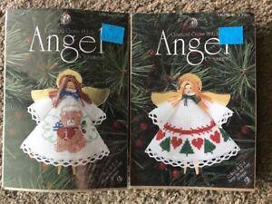 2-DMC-Counted-Cross-Stitch-Angel-Ornament-Kit-Angel-Wings-Bear-Hearts-Trees-NEW