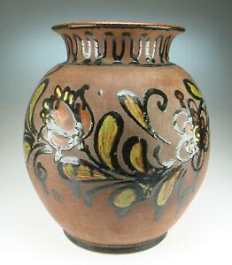 60er-Jahre-XL-Keramik-Vase-mit-Blumen-Hippie-Boho-Flower-Power-Ceramics-Pottery