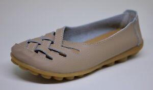 Women-039-s-Beige-Leather-Lattice-Flats