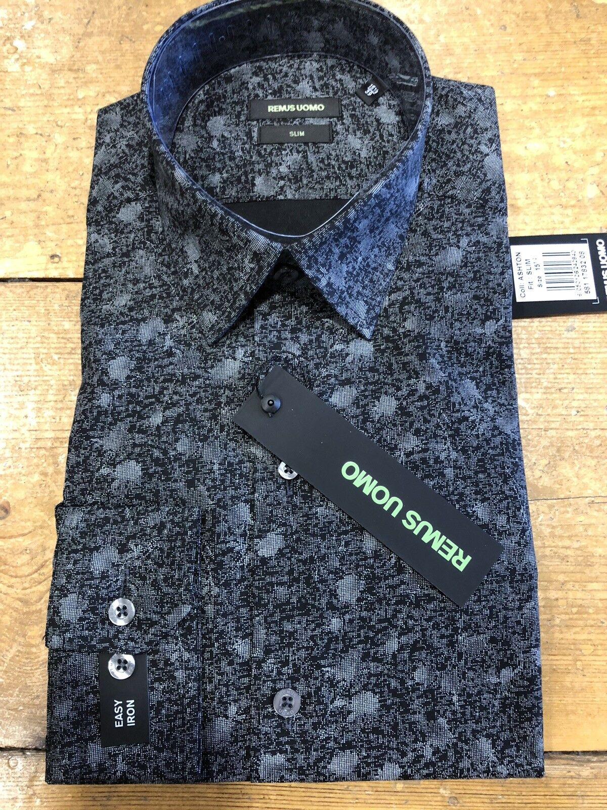 Remus Uomo ® stampato alla moda Camicia Carbone Nero - 17.5  XL SLIM FIT NUOVO AW18