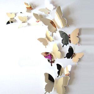 12 st ck 3d schmetterlinge wanddeko wandsticker wandtattoo aufkleber spiegel neu ebay - Wanddeko schmetterlinge 3d ...