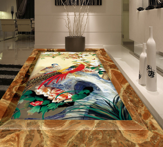 3D Phoenix Peony Stone 7 Floor WallPaper Murals Wall Print Decal AJ WALLPAPER US