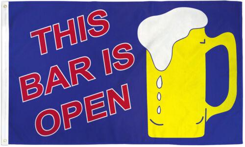 This Bar is Open Flag 3x5ft Beer Banner Sign Novelty Dorm Flag Man Cave Flag