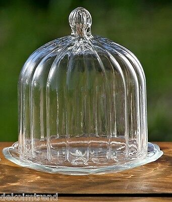 Glasglocke mit Teller Käseglocke Biskuitehaube gewelltes Glas Glashaube Ø 13 cm