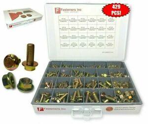 429-Piece-Grade-10-9-Metric-Flange-Bolt-amp-Flange-Nut-Assortment-Kit-Yellow-Zinc