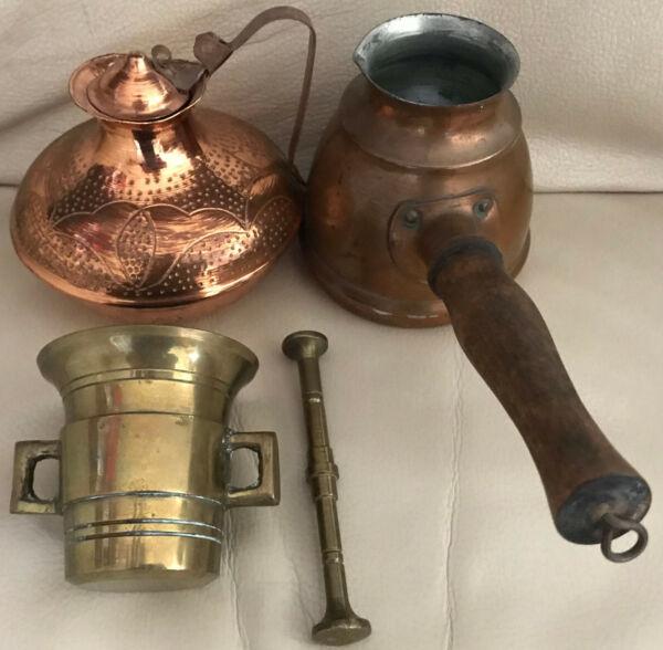 4 Piezas Metal Mescolanza 2 Cobre-jarra 1 Pequeño De Latón-mortero Con Olla-n 1 Kleiner Messing-mörser Mit Topf Ver