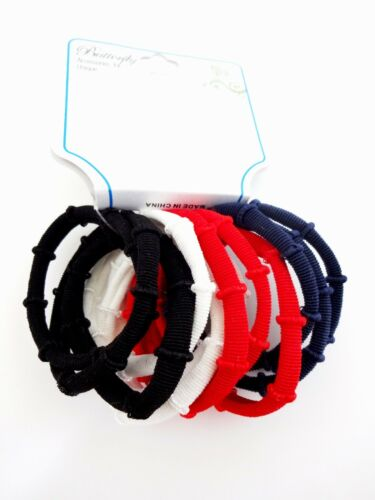 Ponytail Holders Set Of 12 Memorial Day July 4th Red White Navy Blue Black