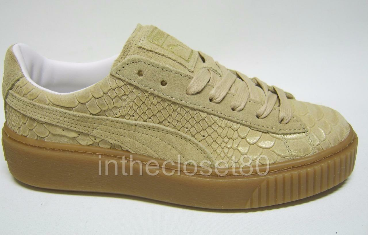 Puma Suede Platform Creepers Oatmeal Beige Brown gold Snake Skin Womens Trainers