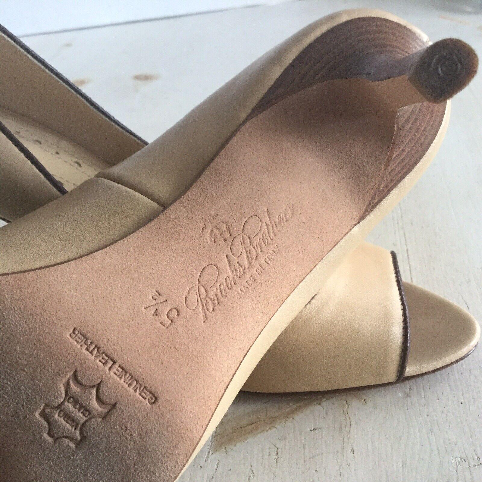 Brooks Brooks Brooks Brothers Open Toe Leather Pumps  schuhe 5.5 5 1 2 Creamy Tan Neutral 0d7c49