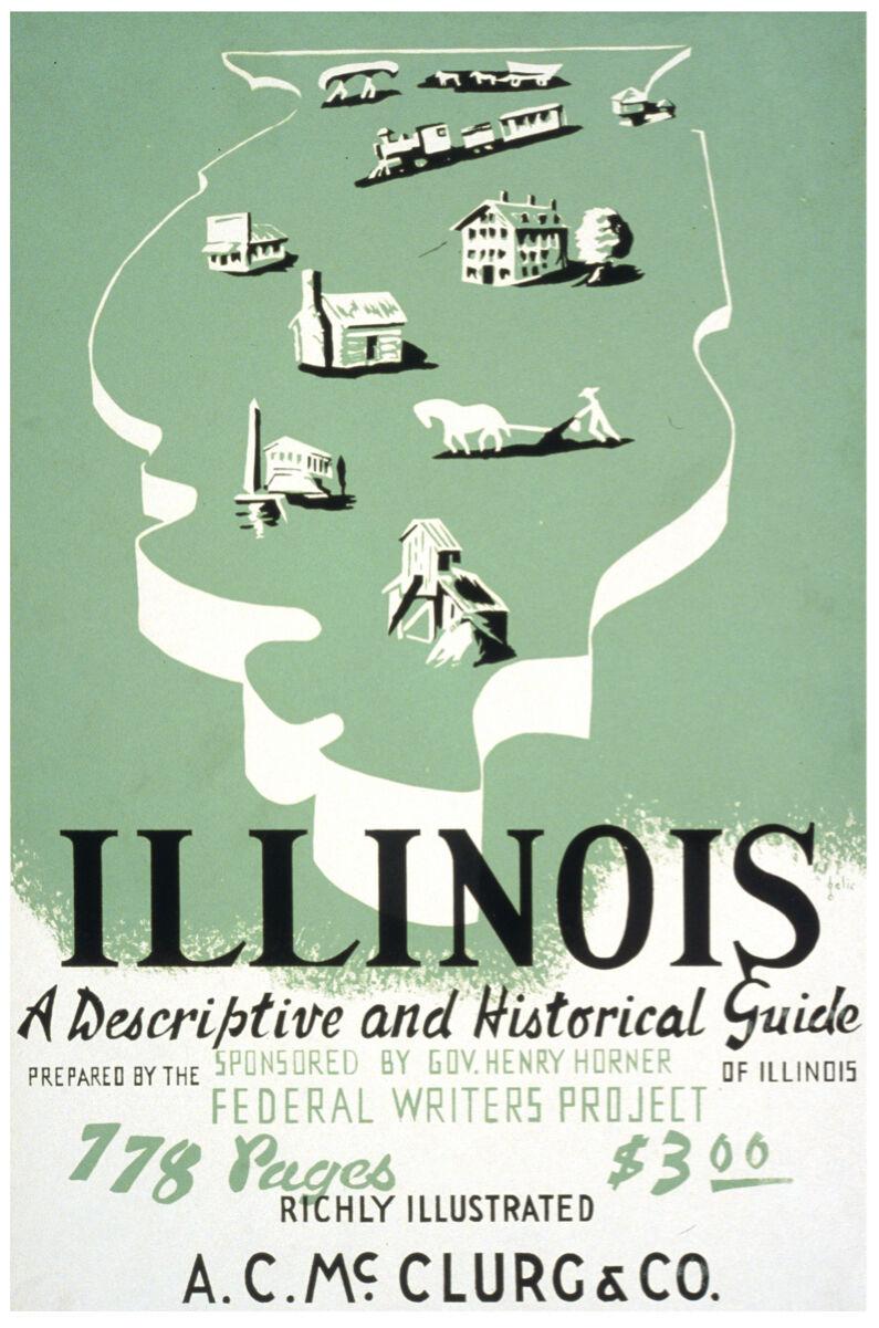 History of Illinois Art POSTER.Stylish Graphics.Vintage Room Grün Decor.346i