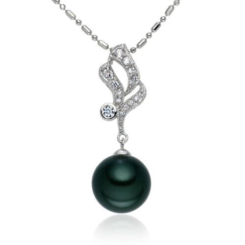 LUXUS Muschelkern Perlen Anhänger Kette Set Weissgold plattiert Ba10