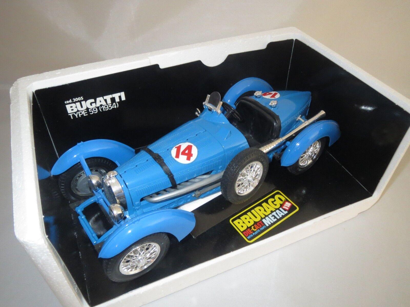 BBURAGO Bugatti type 59  fermée écrous de roue   14  1934  1 18 neuf dans sa boîte  (3)