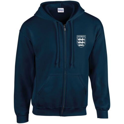 Portsmouth  3 Lions Club And Country Small Crest Zip Hoodie Mens