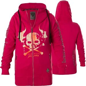 Details about Yakuza Women Flying Skull Zip Hoodie GHZB 13112 Fuchsia Rose