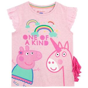 Peppa-Pig-T-Shirt-l-Girls-Peppa-Pig-amp-Unicorn-Tee-l-Kids-Peppa-Pig-Top