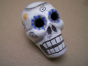 Day of the Dead Painted Burnished Skull - White with Crossbones - Mexico