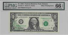 $1 1995 Federal Reserve Note Atlanta - Offset Printing Error - Pmg 66 Epq