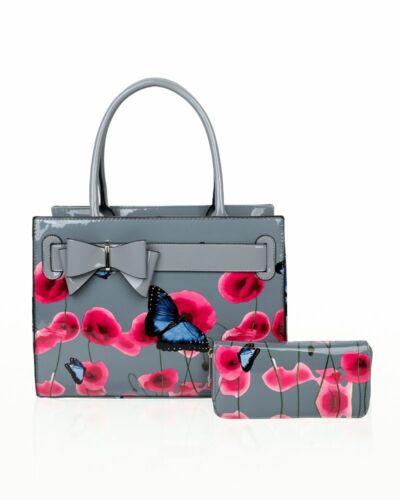 Ladies Women/'s Poppy Flower Butterfly Pattern Top-Handle Bag With Purse Set 2In1