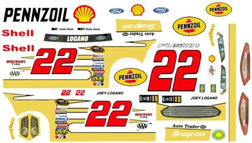 #22 Joey Logano Shell Pennzoil Fusion 2017 1//32nd Scale Slot Car Decals