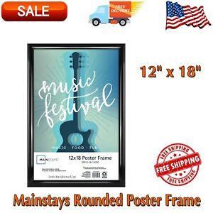 12 x 18 Rounded Poster Frame, Black, Plastic Poster Frame, Photograph, Artwork