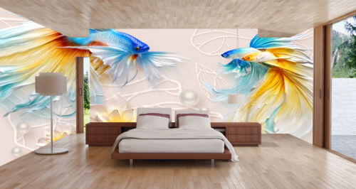 3D Colorful Goldfish Self-adhesive Wallpaper Mural Room Decor Sticker Decal