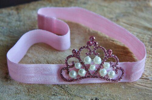 Handmade Baby Girl Newborn Elastic Tiara Crown Headband Hairband Rhinestone