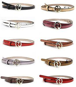 0f3c90042 New GUCCI Women's Leather Thin Skinny Belt w/Interlocking G Buckle ...