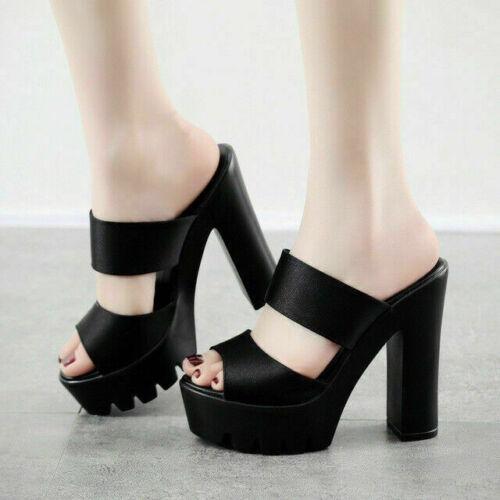 Women Slip On Sandals Ladies High Heel Platform Block Shoes Peep Toe Mules Party