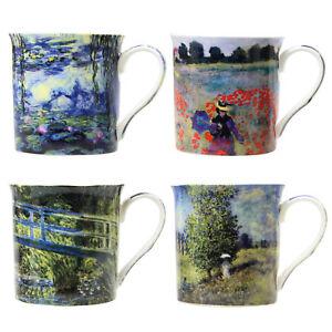 Fine D'origine Tasse Lot Porcelaine Sur Le Thé Tasses 4 Titre Claude Monet Détails Paintings Boissons De Café Afficher PkiuXZOT