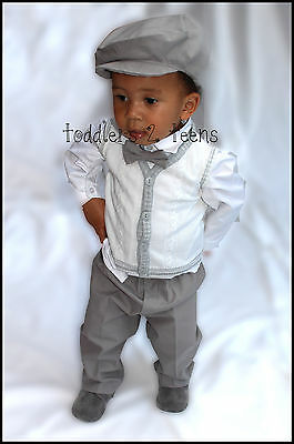 Baby Boy Christening Pageboy Formal Party Smart Boys Suit Hat Outfit Grey