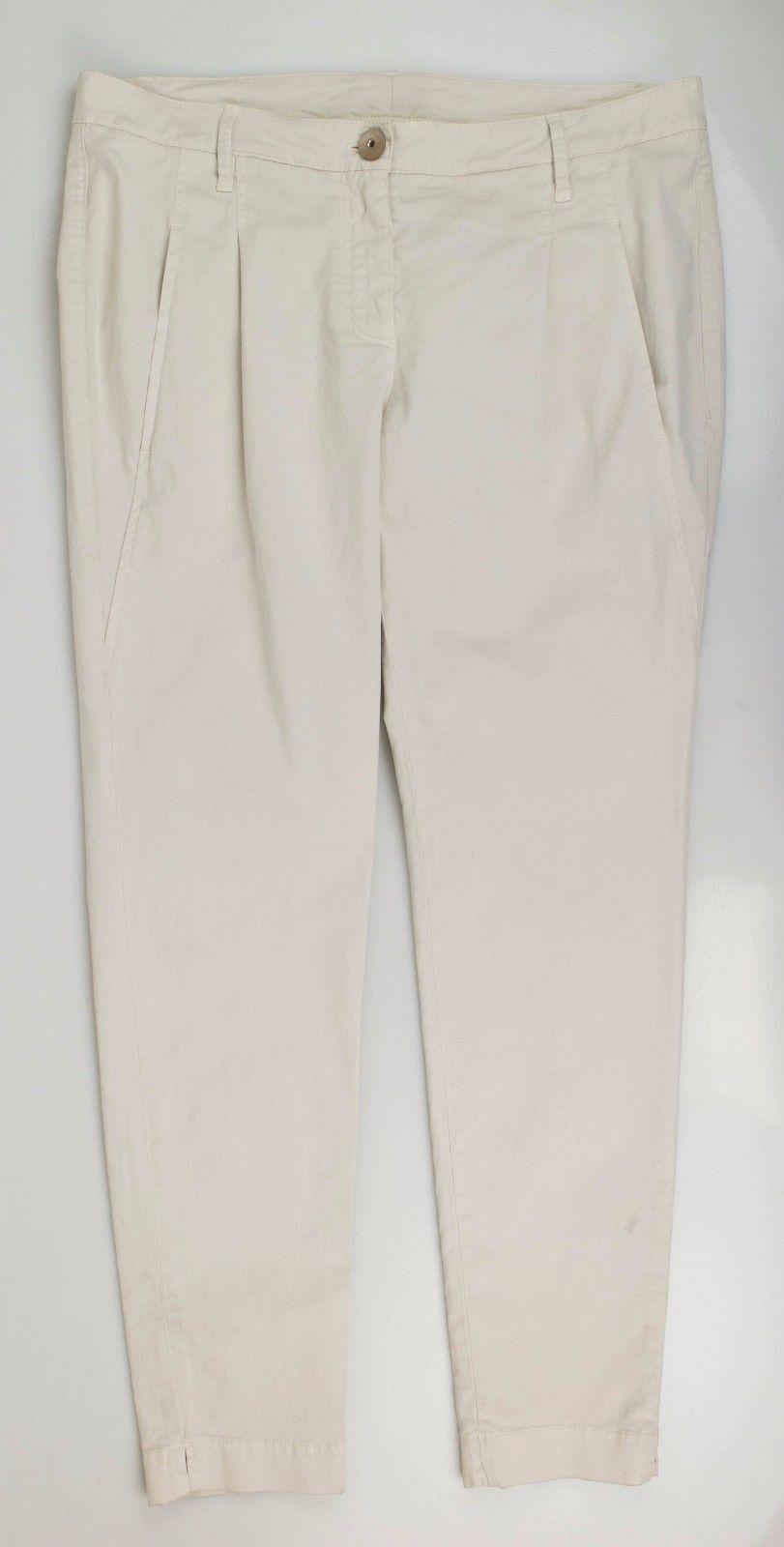 NWT BRUNELLO CUCINELLI Women's Ivory Cotton Blend Casual Pants Size 10 46  1050