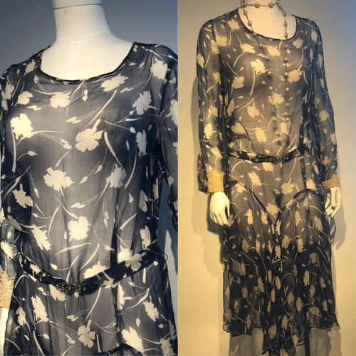 1920's Printed Silk Chiffon Dress