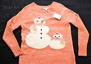women-039-s-Lauren-Conrad-peach-snowman-family-sweater-size-medium-RSRP-50-soft