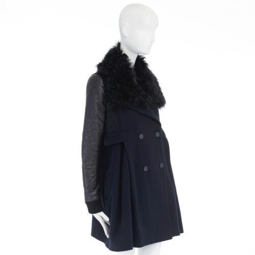 Collar Line Faux Black Bomber Navy Shearling S Coat Preen Sheepskin Sleeve Wool IwdA4Iq