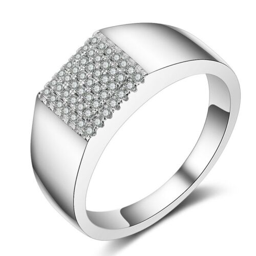 Simple Men/'s Smooth Band AAA Zircone Cubique Fashion Cadeau Argent 925 bague de mariage Taille 8-12