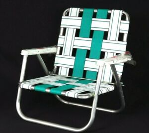 Details about Vintage Folding Beach Chair Aluminum Webbed Low Green White  Camping Fishing Lawn