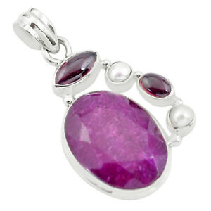 925-Sterling-Silver-18-66cts-Natural-Red-Ruby-Garnet-Pendant-Jewelry-P59144