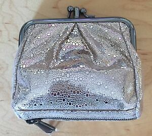 Nwt-Women-039-s-Hobo-International-Leather-Coin-Purse-Wallet-Minnie-Platinum-Exotic