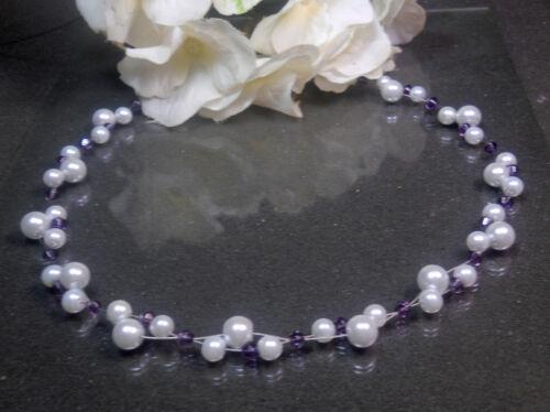 Funkelnde  Perlen  Kette Collier  weiß  amethyst  Glas Biconen 43 cm  handgef.