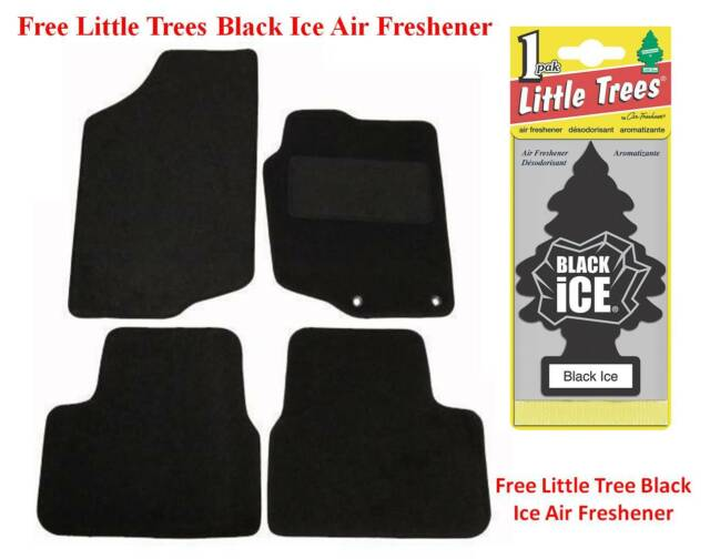 Black 4 Pieces JVL Fully Tailored Car Mats with 3 Clips