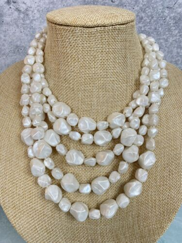 Castlecliff Multi Layer 5 Strand Necklace White Be