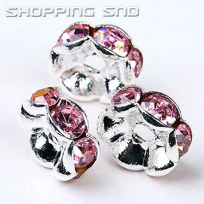 Premium Quality! 100 Czech Crystal Rhinestone Wavy Silver Rondelle Spacer Beads