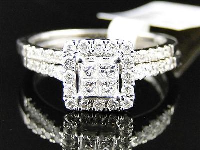 Ladies 14K White Gold Princess Cut Diamond Engagement Wedding Bridal Ring Set