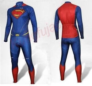 Superman Cycling Long Sleeve Jersey+Pants Man of Steel Bicycle Set ... b34eda6b0