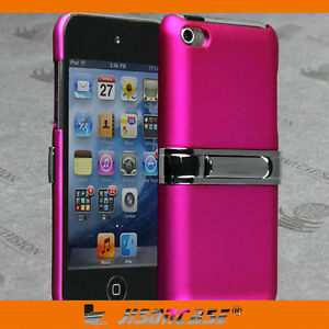 Hot-Pink-Rubber-Back-Case-Cover-for-Apple-iPod-touch-4-with-METAL-STAND