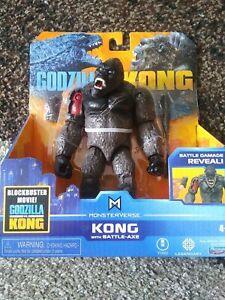 "GODZILLA VS KONG Movie BATTLE DAMAGE REVEAL 6"" Kong Figure with Axe 2020 READ!!"