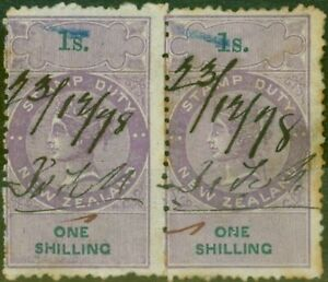 New-Zealand-1867-Stamp-Duty-1s-Purple-amp-Green-Pair-P-12-5-Wmk-NZ-R343
