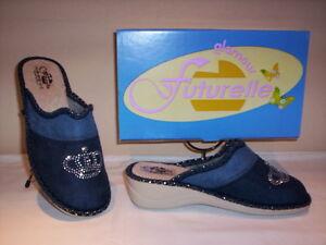 Futurelle ciabatte pantofole chiuse profumate donna invernali da casa blu nuove
